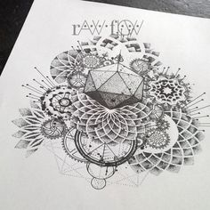 therawflow:  Abstract dotwork mandala tattoo with gears and cogs  Check him out!!!!!!!!!!