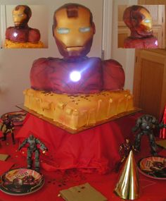 My son's favorite super hero Iron Man 3D Cake - 3d Iron Man Cake   This Is A 3D Iron Man Cake with a light on the chest.