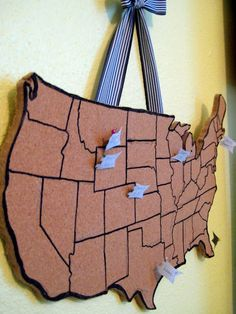 DIY corkboard map -- Keep track of your family travels!