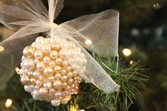 Glue with styrofoam ball and pearls
