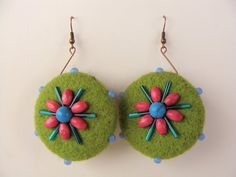 Felted earrings by Beautifulhandicraft on Etsy