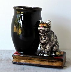Vintage Redware Cat and Vase on Book Figurine / Match Holder / Shafford Style / Made in Japan