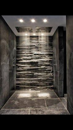 master suite rock wall double shower vacations pinterest rain shower the cave and built ins. Black Bedroom Furniture Sets. Home Design Ideas
