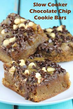 Perfectly Rich Chocolate Chip Cookie Bars are one of the best slow cooker desserts you could ever make! I love this easy dessert bar recipe.