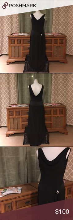 Betsy & Adam (By Linda Bernell) Mermaid Gown Beautiful floor length mermaid gown with a plunging cowl neckline in both front and back. Diamond shaped stone accent at waistline. Perfect for a gala, night at the theatre 🎭 or opera, and even prom night!   EXCELLENT like new condition. Worn only once to a military ball.   Dry Clean Only  ‼️Depending on lighting, the color may appear lighter or darker‼️ 🙅🏽Sorry, no trades🙅🏽 Betsy & Adam Dresses Prom