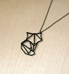 Origami Animal Fox Pendant Necklace by quietlycreative on Etsy
