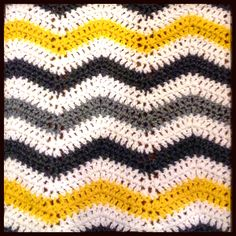 Yellow, Grey and White Chevron Style Crochet Blanket with link to pattern! - Wellington SnB