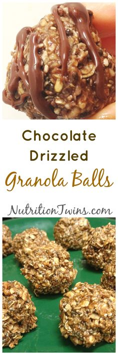 Chocolate Drizzled Granola Balls (No-bake!) | Only 59 Calories | Simple, Healthy & Scrumptious! |For MORE Nutrition & Fitness Tips & RECIPES please SIGN UP for our FREE NEWSLETTER www.NutritionTwins.com