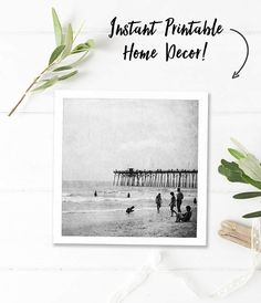 Beach Photography Download Vintage Bathroom Art Ocean Printable Photograph Instant Digital Square Black And White Wall Print