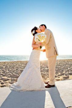 Bride and Groom Beach Wedding Portrait - Beach Weddings at The Sunset - Malibu, California - Photography: www.truephotographyweddings.com