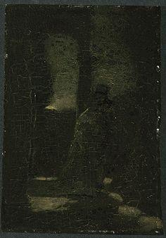 """The Lovers,"" Albert Pinkham Ryder, ca. 1890, oil on panel, 11 1/2"" x 8 1/4"", Frances Lehman Loeb Art Center."