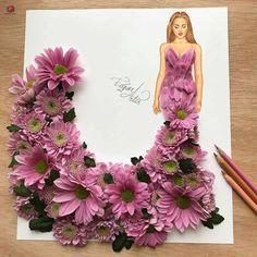 Flowers fashion illustration design 35 new Ideas Art Sketches, Art Drawings, Arte Fashion, Style Fashion, Fashion Design Drawings, Dress Drawing, Creative Artwork, Arte Floral, Flower Fashion