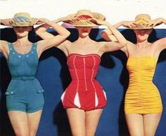 1950s swimsuits.  Makes me think of Disney (Cinderella, Snow White, Belle).