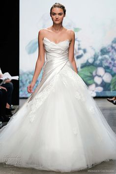 strapless wedding dress with asymmetric draped corset bodice and tulle ...  weddinginspirasi.com