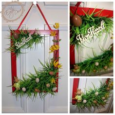 Easter hand made door decoration with eggs,flowers! Isten hozott=Welcome   www.facebook.com/DecorEagle