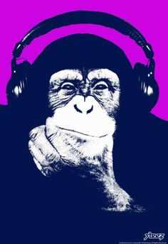 Steez Headphone Chimp - Purple Art Poster Print Poster