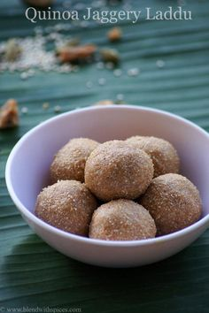 Quinoa Laddu Recipe - An Indian sweet made from Quinoa and jaggery. Step by step recipe. blendwithspices.com