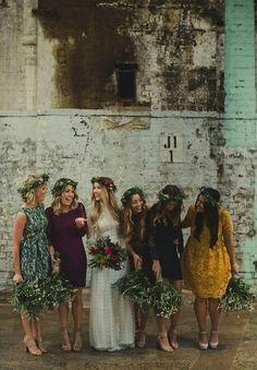 non-matching, fall colored bridesmaid dresses
