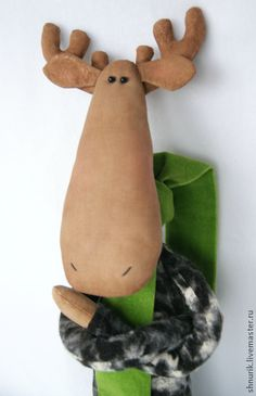 Tilda moose with green scarf. Handmade.