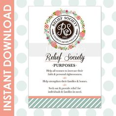 Relief Society Printable Moto / Statement / Purpose. Faith Hope Charity. #LDS #LDSPRINTABLE: