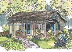 People who feel drawn to simplicity will find much to appreciate in this home plan. Call it a cabin, a bungalow or a vacation retreat. Whichever designation you chose, this home is charming. And being small, it's as economical to build as it is to maintain. Slender wooden posts support and define a long front porch that wraps around to the right. Exposed rafter tails along the roof's edge create visual interest there, while cedar shake shingles give a rustic texture to the exterior, abo