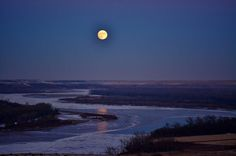 Reader Submited COLD MOON PHOTOS: Becky Graner. Over Missouri River in ND