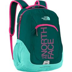 The North Face Haystack Laptop Backpack, in Deep Teal Blue-Gem Pink Graphic. Features include: FlexVent™ injection-molded shoulder straps with foam liner, comfortable padded-foam back panel, large main compartment with laptop sleeve & organization, secondary external zip pocket, & padded top handle. @iStudentNurse #Backpack #TheNorthFace