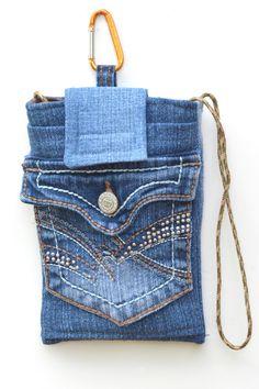 Crossbody denim mini purse, cell phone bag, clip on phone bag, upcycled denim bag, iPhone case by mimisfunstuff on Etsy