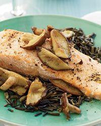 Salmon with Shiitake and Red Wine Sauce Recipe on Food & Wine