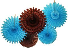Turquoise blue and brown tissue paper party fan decorations.  Made in the USA by Devra Party.
