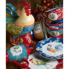 Give your countertop a beautiful appearance with the selection of this beautiful Certified International Morning Bloom Rooster Multicolored Cookie Jar. Ceramic Cookie Jar, Cookie Jars, Ceramic Mugs, Rooster Plates, Rooster Kitchen, Rooster Art, Paint Cookies, Spring Bouquet, Hand Painting Art