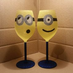 Beautiful Handmade Minion wine glasses  Made to order Hand wash only in luke warm water  They all come gift wrapped with matching ribbon