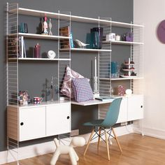 String Shelving in stock and available for quick UK delivery. Buy from Utility Design today. Shelving Solutions, Shelving Systems, Shelf System, Bureau Design, Scandinavian Shelves, String Regal, String Shelf, Room Interior, Interior Design