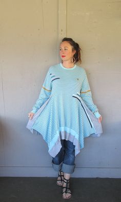 X Large 1 X oversize upcycled sweater tunic dress / Romantic Boho clothing / Patchwork top / funky tunic / Artsy shirt LillieNoraDryGoods