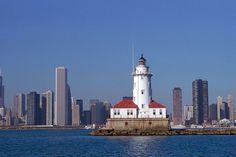 The Chicago Harbor Light in Lake Michigan