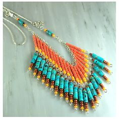 Southwest seed bead necklace with turquoise by BeadCasita on Etsy, $30.00