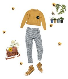 """plant power"" by g-maytregunna ❤ liked on Polyvore featuring Motel, Topshop, Converse, Alba Botanica, Mahi, Burt's Bees, yellow, blackandwhite, plants and mustard"