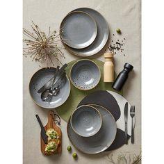 Dark Grey Glazed Dinner Plate   Kmart
