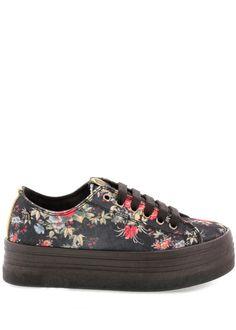 Černé květované tenisky na platformě MTNG(11703) - 1 Front Row, Louis Vuitton, Sneakers, Shoes, Fashion, Tennis, Moda, Slippers, Zapatos