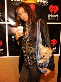 Steven Tyler spotted backstage with his dog at #iHeartRadio at MGM Grand, LV on Sept 22, 2012