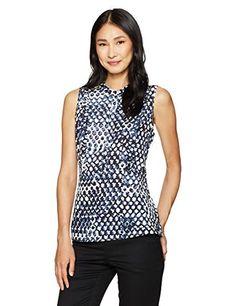 754ce73d Women's Clothing, Tops & Tees, Blouses & Button-Down Shirts, Lark & Ro Women's  Sleeveless Ruffle Peplum Top - Sketch Geo - & Button-Down Shirts