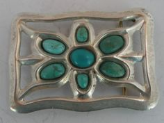 Old Native American Navajo Sterling Turquoise Belt Buckle Sand Cast Unusual | eBay