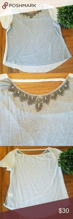 Gray white sheer top🖤 This top is in great condition. Small snag on the back of shirt. Small thread snag near beading, this has not affected the beading. Perfect to pair with leggings or capris for spring! Size is M/L. Tops Blouses