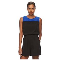 "NWT REED Romper black/blue Zipper back Size 2 NWT REED Romper colorblock black / blue combo.  One piece, crewneck, sleeveless, blouson bodice, elastic waistband, 2 pockets with exposed zipper Back. Limited Edition. Spring/Summer 2016. Inseam 3"".  Body: 92% Polyester / 8% Spandex. machine washable  Size 2 Reed Krakoff Pants Jumpsuits & Rompers"