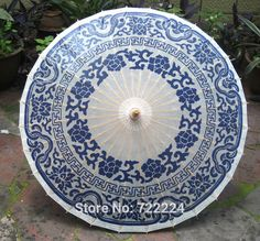 Free shipping Dia 84cm chinese traditional handmade blue and white style oiled paper umbrella rain parasol decorative umbrella-in Umbrellas from Home & Garden on Aliexpress.com | Alibaba Group