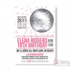 Funky Disco Ball Themed Single Sided Personalised Birthday Invitations - From as little as per card - Including free envelopes and delivery on all orders! Personalized Invitations, Disco Ball, Envelopes, Save The Date, Birthday Invitations, Rsvp, Delivery, Cards, Free