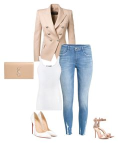 Untitled #13 by whitney-carey on Polyvore featuring polyvore fashion style Vince Balmain Christian Louboutin Gianvito Rossi Yves Saint Laurent clothing. Created by yours truly.