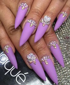 Amazing long matte purple gel nails - Miladies.net