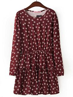 Red Long Sleeve Floral Pleated Dress - Sheinside.com
