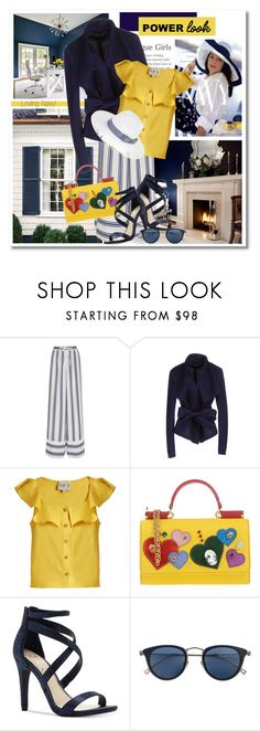 """Loving Navy"" by sjk921 ❤ liked on Polyvore featuring COVERGIRL, Benjamin Moore, Sacai, Donna Karan, Sea, New York, Dolce&Gabbana, Jessica Simpson, Issey Miyake, Scala and MyPowerLook"